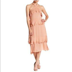 Endless Rose Halter Neck Ruffled Midi Dress